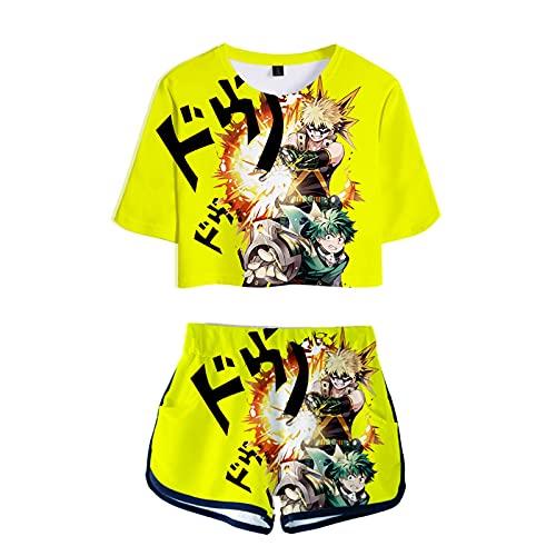 WWZY Anime My Hero Academia Trajes de Impresión 3D Midoriya Izuku y Bakugou Katsuki Manga Corta Top Camiseta y Pantalones Shorts Sexy Ombligo Conjuntos Anime Cosplay Disfraz Mujer,Amarillo,S