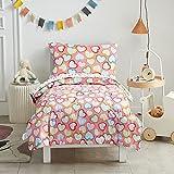 Uozzi Bedding Juego de ropa de cama infantil de 4 piezas, diseño de corazones