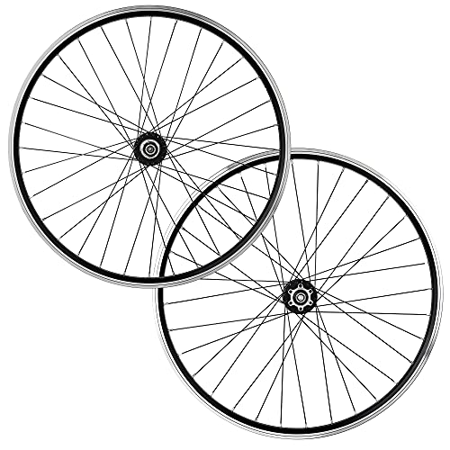 LHHL Set Ruote Bici 26/27.5/29' MTB Cerchi in Lega Freno A Disco/V Freno Quick Release Cuscinetto Sigillato per Cassette A 7-10Velocità 32H (Color : Black, Size : 27.5')