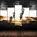 BHJIO 5 Piezas Cuadros Modernos Impresión De Imagen Artística Digitalizada Lienzo Decorativo para Tu Salón O Dormitorio Carrera De Bicicletas Regalo 150 X 80 Cm.