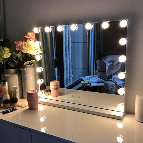 FENCHILIN Vanity Mirror with Lights, Hollywood Lighted Makeup Mirror with 15 Dimmable LED Bulbs for Dressing Room & Bedroom, Tabletop or Wall-Mounted, Slim Metal Frame Design White