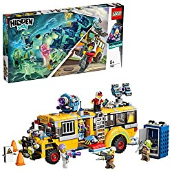 This school bus toy features a pull-out command center, flip-out 'de-haunting' cannons, rooftop scanners and space for 4 minifigures inside The portable toilet can change into a brown-tile spitting haunted ghost monster becoming interactive if viewed...
