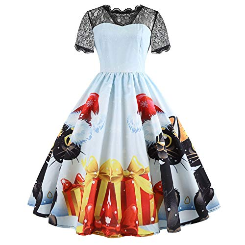 Kobay Femmes Halloween Party Retro Manches Courtes Une Ligne Robe Dentelle Patchwork Fairy Tale Vintage Dress