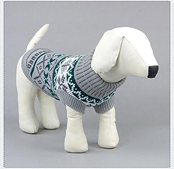Tineer Manteau de Tricot de Flocon de Neige de Chien d'animal familier, Chiot Chat Pull-Overs Sweater Jacket Hiver Noël vêtements Chauds (XL, Gris)