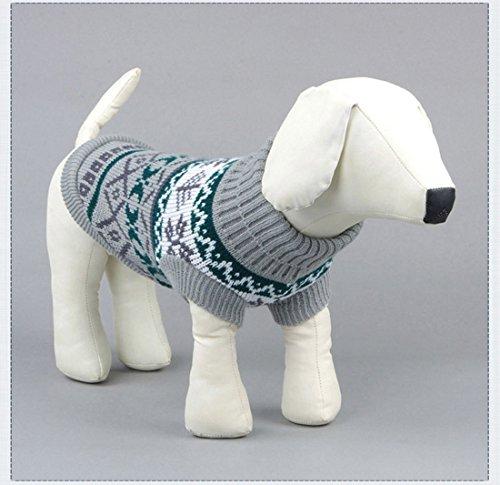 Kismaple Animale domestico Cane Panno classico Abiti Maglione caldo Cani Grande Grigio,XL Lunghezza posteriore: 33-34cm
