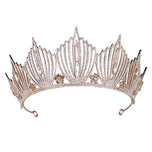 Lurrose 1 pieza estilo barroco corona elegante rhinestone pelo aro diadema novia...