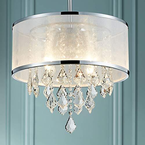 Bestier Moderne Kristalltrommel Kronleuchter anhänger kristall trommel kronleuchter beleuchtung deckenleuchte lampe esszimmer badezimmer schlafzimmer wohnzimmer e14 lampen erforderlich d40cm x h36cm