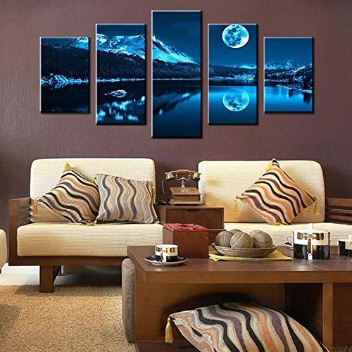 ARXYD 5 opeenvolgende schilderijen City Night Landscape Poster 5 Panel Canvas Schilderen Muur Kunst Bedrukken Woonkamer Huisdecoratie Huisdecoratie Hd Print Schilderij Poster Canvas Afbeelding 150*100 CM A12
