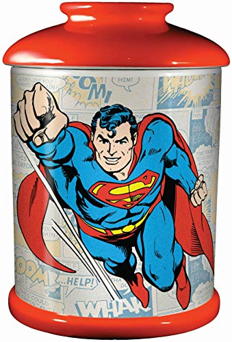 "Spoontiques Superman Cookie Jar, 9-1/2"", Red"