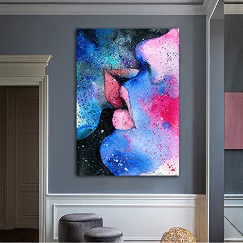 Frameloos KUNST aquarel liefde kus foto's abstracte canvas schilderij kunst aan de muur voor woonkamer moderne huisdecoratie <> 60x90cm
