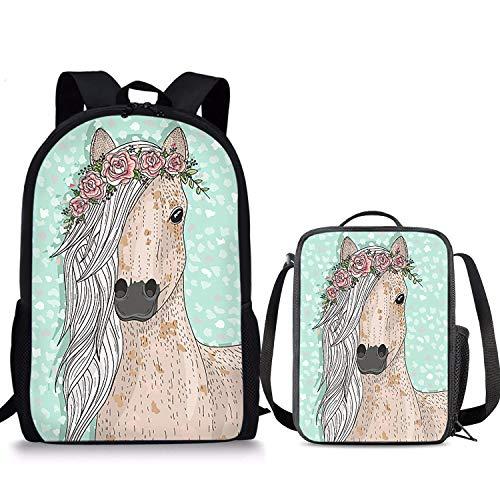 Ensemble de 2 sacs à dos élégant avec motif de cheval - 43,2 cm - Pour enfants - Pour la rentrée des classes