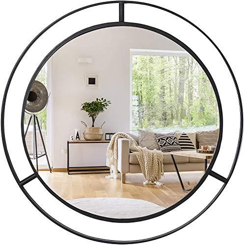 UMI. by Amazon Grandi specchi Rotondi da Parete con Anello Circolare in Metallo per Soggiorno, corridoio, Camera da Letto, 24 Pollici