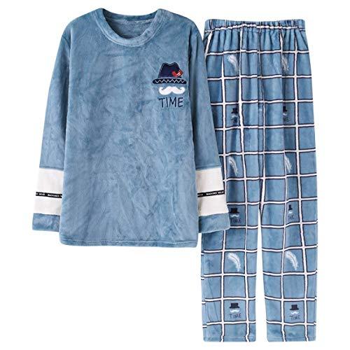 Conjuntos de pijamas para amantes, ropa de dormir de invierno, toalla para el hogar de ocio, pijama de franela cálida para hombres, pijama para niñas, conjunto de ropa de dormir para hombres XXXL