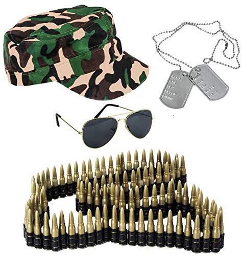 Tigerdoe Army Costume - 4 Pc Set - Soldier Costume - Camo Trooper - Military Costume - Combat Costume