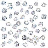 HANSGO Clear Glass Diamonds, Beveled Diamonds Small Crystal Gems Pirate Treasure 10mm Fake Diamonds Wedding Favor Table Centerpiece Decorations