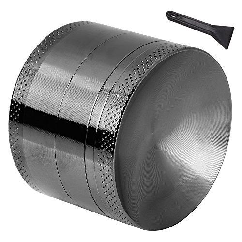 Anpro Macinaspezie Manuale - Macinapepe Smerigliatrice in Alluminio con setaccio e Piano Magnetico per Erba secca e Tabacco con la Migliore qualità - 4 Pezzi da 2,15 Pollici