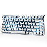 Qisan ゲームメカニカル式キーボード CherryMX青軸 アイスブルーバックライトモード付き 82キー 白銀