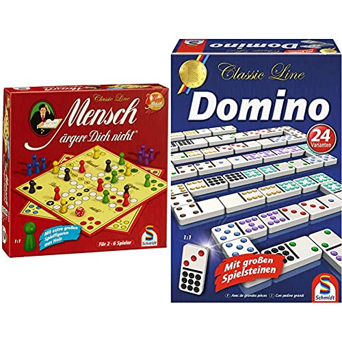 Schmidt Spiele 49330 Classic Line, Mensch ärgere Dich Nicht, mit extra großen Spielfiguren aus Holz, FFP, bunt & 49207 Classic Line, Domino, mit großen Spielsteinen, bunt