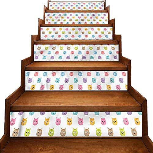 JiuYIBB - Adhesivo extraíble para decoración del hogar, diseño de Gatos con Caras Felices