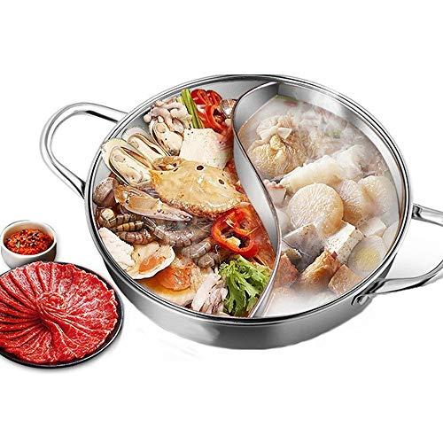 MJ-Hot Pot Shabu Shabu Pentola Calda per Uso Domestico Shabu Shabu a Due Gusti con divisore S per fornello a induzione fornello a Fuoco Aperto pentola per zuppa di Carne