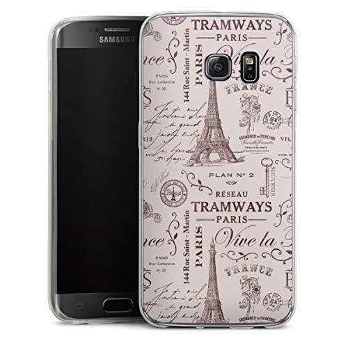 DeinDesign Custodia sottilissima Compatibile con Samsung Galaxy S6 Edge Custodia per Cellulare di Silicone Trasparente Cover Semplice Francia Parigi Vintage