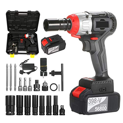 Beautiful happy Brushless Impact Wrench Cordless Impact Wrench Kit Brushless Drill 1/2 & 1/4 Inch Quick Chuck 980 Nm Torque Fast Charger 4.0AH Battery (Size : UK Plug 2 Battery Set)