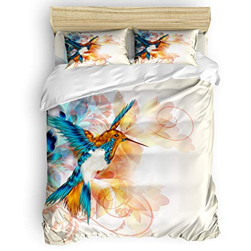 EZON-CH Cute Bed Duvet Cover Set Soft Twill Plush Bed Sheet Set for Kids Girls Boys,Watercolor Oriole Bird Pattern Warm Bedding Sets,1 Comforter Cover 1 Bed Sheets 2 Pillow Case Twin Size
