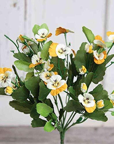 artplants.de Viola del Pensiero Artificiale DELJA su Gambo, Bianco-Arancione, 25cm - Fiore Sintetico/Viola del Pensiero Finta