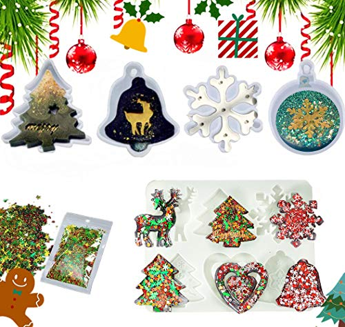 JeVenis 6 PCS Christmas Resin Molds Deer Resin Casting Mold Snowflake Resin Mold Christmas Ornament Mold DIY Bag Tag Key Chain