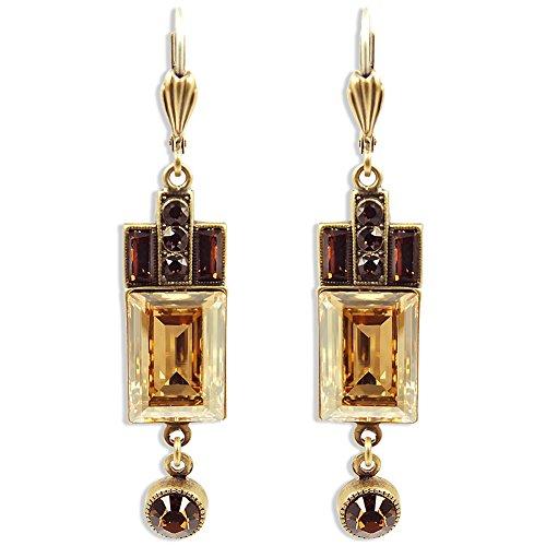 Artdeco Ohrringe mit Kristallen von Swarovski® Gold Braun NOBEL SCHMUCK