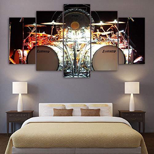 XIXISA 5 Stück Leinwand Kunst Musik Schlagzeug Kit HD gedruckte Wandkunst Home Decor Leinwand Malerei Bild Poster Drucke 30x40 30x60 30x80cm Kein Rahmen