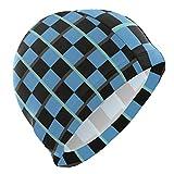 Tcerlcir Gorro Natación Tela Escocesa Negra Azul Gorro de Piscina para Hombre y Mujer Hecho de Silicona Ideal para Pelo Largo y Corto