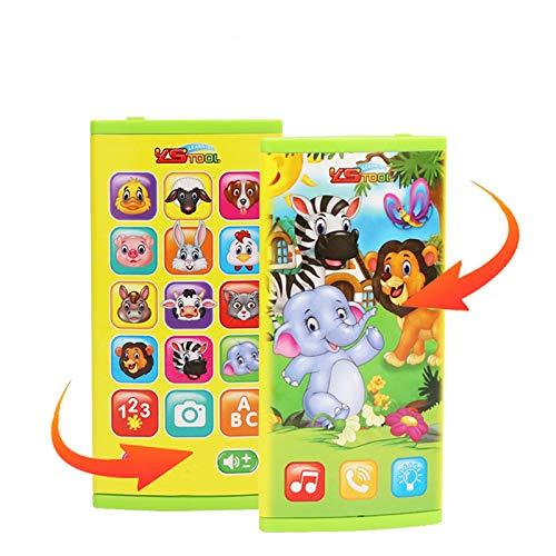 LWNN Happy Animal de doble cara pantalla teléfono móvil bebé teléfono celular juguete, bebé teléfono celular juguete, 12 meses aprendizaje temprano juguetes educativos