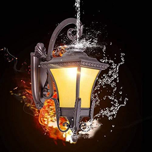 aipipl Lámpara de Pared de Vidrio E27 Tradicional Vintage Luces LED de jardín al Aire Libre Linterna de Entrenador Victoriana Lámpara de Pared de Aluminio Externa Lámpara de Pared de Pasillo de vil