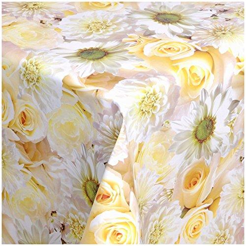 TEXMAXX Wachstuchtischdecke Wachstischdecke Wachstuch Tischdecke abwaschbar (148-00) - 240 x 140 cm - PVC Tischdecke abwischbar, Blumen Rosen Muster Weiss-Gelb-Creme