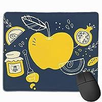 マウスパッド ジュース リンゴ 青い グレー ゲーミング オフィス最適 おしゃれ 疲労低減 滑り止めゴム底 耐久性が良い 防水 かわいい PC MacBook pro/DELL/HP/SAMSUNGなどに 光学式対応 高級感プレゼン YAMAYAGO