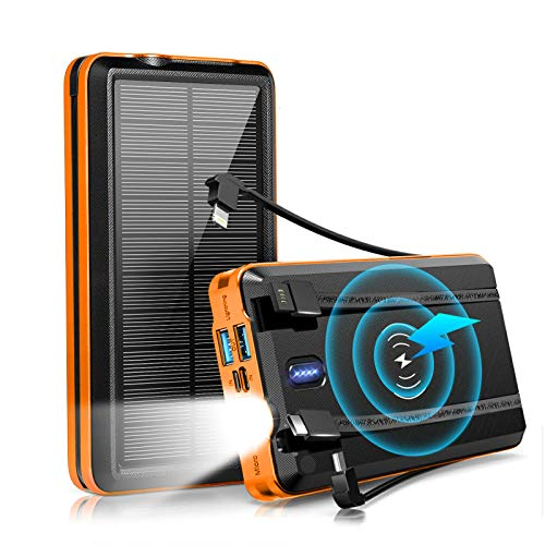 Solar Charger Power Bank 30000mAh, Wireless Solar Phone Charger, Portable w/Flashlight, 5 Output Ports, 3 Input Ports, Built-in Type C, Andriod, iOS Cables, Compatible with Smartphone, Tablet