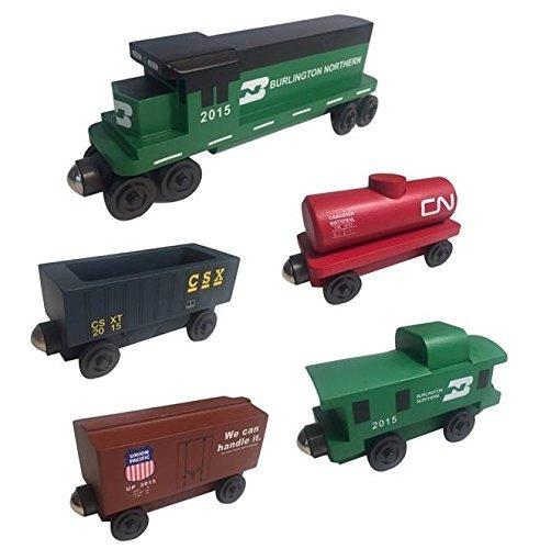 Whittle Shortline Railroad - Manufacturer Burlington Northern Railway GP-38 Diesel 5pc. Set - Wooden Toy Train