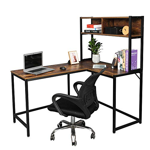 L-Shaped Corner Computer Desk with Shelf, Office Table PC Laptop Workstation Home Table Brown Study Table, Table for Living, Dining or Room