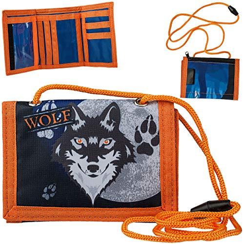 alles-meine.de GmbH Geldbörse / Brustbeutel - Wolf - Tiere Hund Husky - mit Sichtfenster - für Buskarte + Kordel zum Umhängen - Geldbeutel & Portemonnaie für Kinder - Geld - Foli..