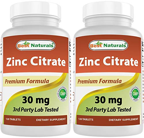 Best Naturals Zinc 30mg Supplements (as Zinc Citrate) - zinc Vitamins for Adults Immune Support - 120 Tablets (Pack of 2)