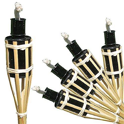 Timtina - Set di 18 fiaccole ad olio da giardino in bambù, con protezione antispegnimento per stoppino