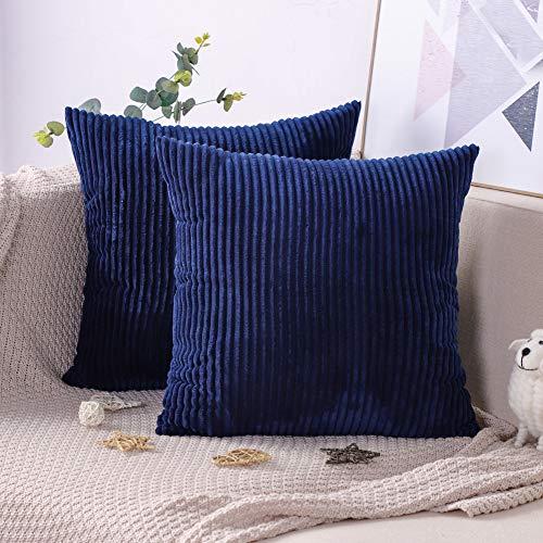 Artscope Lot de 2 Housse De Coussin en Velours Côtelé Décoratif Taie d'oreiller Canapé Voiture Maison Décor Housses de Coussin 45 x 45 cm (Bleu foncé)