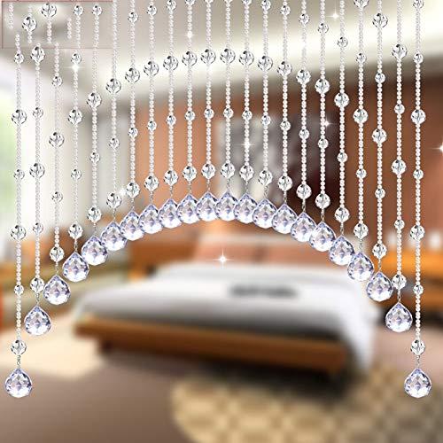 Cortina De Cuentas De Cristal-Cortinas Colgantes De Cuentas Cortina De Separación De Puerta Cortina De Pantalla Perforadora Tamaño Libre Se Puede Personalizar JINRONG