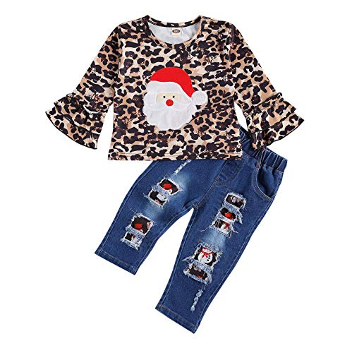 Toddler Baby Girls Christmas Clothes Leopard Shirts Tops with Santa Claus Pattern and Holes Ripped Jeans Outfits Set 2PCS(1-2T, Leopard Santa Claus)