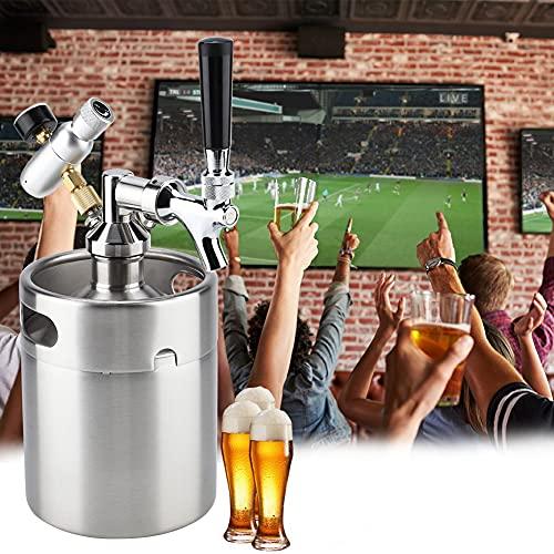 Mini barril de acero inoxidable de 2 litros, kit de barril casero, con grifo, sistema dispensador de cerveza artesanal presurizado para el hogar, para bar de fiestas, cerveza artesanal, kit presurizad