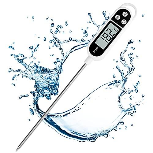 Thermomètre Cuisine, Thermomètre Numérique Digital avec Sonde Longue, Lecture instantané Thermomètre Cuisson, Thermomètre Viande pour Nouriture, Viande, Huile, Lait, Vin, BBQ et Eau Chaude