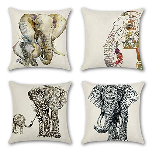 Artscope Decorative Cushion Covers 18 x 18 Inch Square Cotton Linen Throw Pillow Covers Pillowcases for Sofa Car 45 x 45 cm, 4 Pack (Elephant)