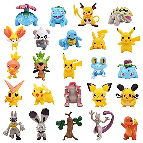 Hilloly Pokemon Cake Toppers, 24 pièces Pikachu Décoration De Gâteau Mini Figurines Fournitures Décoration Postuler à Garçon Fille des Enfants Cake Topper Fête d'anniversaire...
