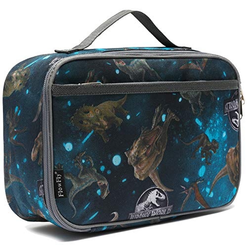 FlowFly Kids Lunch box Insulated Soft Bag Mini Cooler Back to School Thermal Meal Tote Kit for Girls, Boys,Women,Men, Dinosaur#world